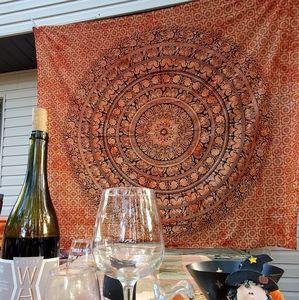NEW Orange Black Mandala Tapestry